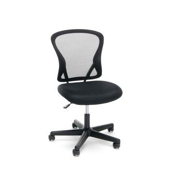 Essentials Collection Swivel Mesh Mid Back Armless Task Chair Black - OFM