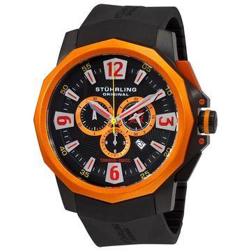 Stuhrling Original Men's Admiral Black/Orange Swiss Chronograph Rubber-strap Watch