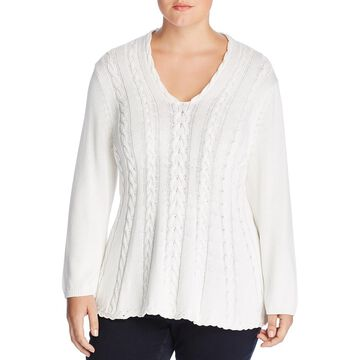 Cupio Womens Plus Curvy Cable Knit V-Neck Pullover Sweater