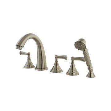 Kingston Brass Royale Roman Tub Filler With Hand Shower, Satin Nickel