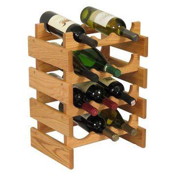 Eco-Friendly 12-Bottle Wine Rack, Light Oak Finish