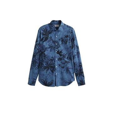 MANGO MAN Hawaiian printed slim-fit shirt