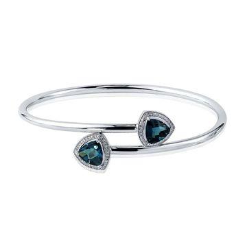Auriya 3 3/4ct Trillion-Cut London-Blue Topaz Gold over Silver Bangle Bracelet with Diamond Accents (White)