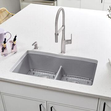 BLANCO Diamond Undermount 32-in x 19.25-in Metallic Gray Double Equal Bowl Kitchen Sink   442077