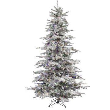 Vickerman 6.5' Flocked Sierra Fir Artificial Christmas Tree with 550 Multi-Colored LED Lights