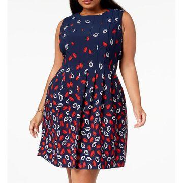 Anne Klein Womens A-Line Dress Navy Blue Red Size 16W Plus Printed