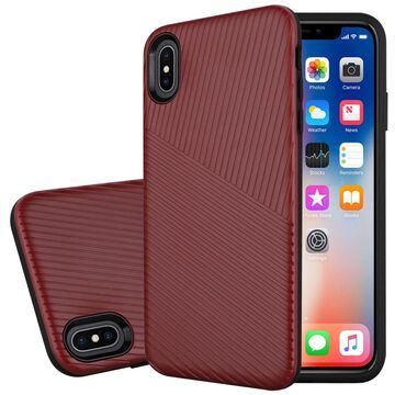 Insten Embossed Lines Hard Snap-in Case Cover For Apple iPhone XS Max, Red