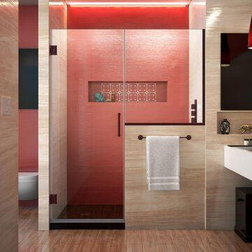DreamLine Unidoor Plus 72-in H x 48-in to 48-1/2-in W Frameless Hinged Oil Rubbed Bronze Shower Door (Clear Glass) | SHDR-24242434-06