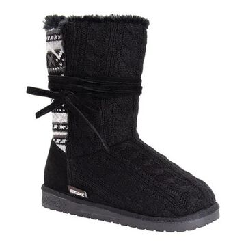 MUK LUKS Women's Clementine Sweater Boot Ebony Acrylic