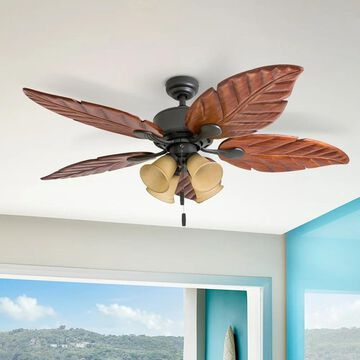 Honeywell Royal Palm Bronze Tropical LED Ceiling Fan with Light, Hand Carved Blades - 52-inch