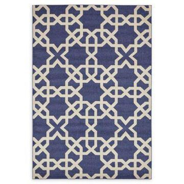 Unique Loom Trellis Rug in Navy Blue