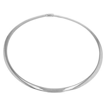14K White Gold 4 mm Italian Omega Necklace 18 Inch by Beverly Hills Charm (White - 18 Inch)