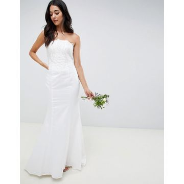 Little Mistress bandeau wedding dress with sequin detail-Cream