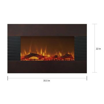 Northwest 36 inch Mahogany Fireplace with Wall Mount & Floor Stand - N/A