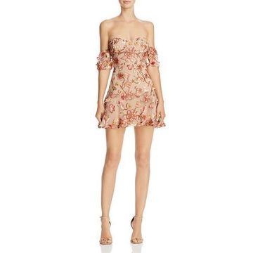 For Love & Lemons Womens Metallic Sequined Party Dress