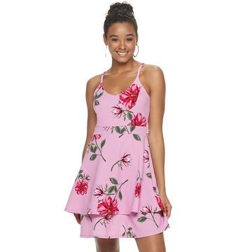 Juniors' Almost Famous Ruffled Lace Skater Dress