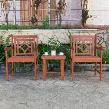 Vifah Malibu 3-Piece Outdoor Patio Conversation Set in Cherry