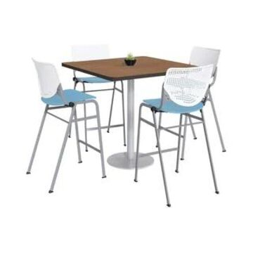 KFI KOOL Bistro Table & Chair set, Cherry Table Top (36 inch table top - White/Sky Blue)