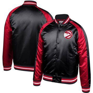 Mitchell & Ness Atlanta Hawks Black Hardwood Classics Colorblock Satin Raglan Full-Snap Jacket