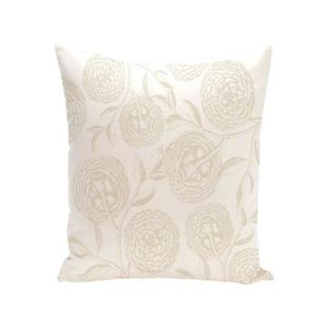 Antique Flowers 16 Inch White and Off White Decorative Floral Throw Pillow