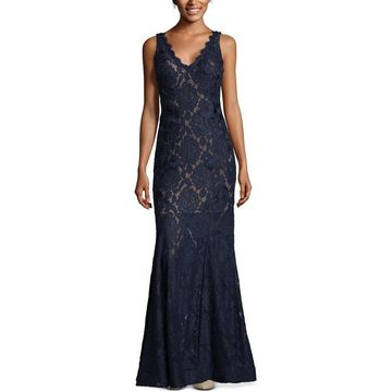 Betsy & Adam Womens Formal Dress Lace Embroidered