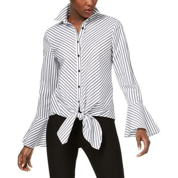 ECI Womens Striped Bell Sleeves Button-Down Top