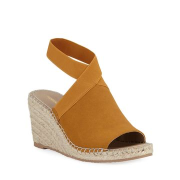 Elastic-Strap Espadrille Wedge Sandals