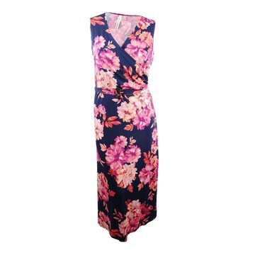 NY Collection Women's Plus Size Printed Surplice Maxi Dress - Pink Peonie