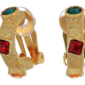 Kenneth Jay Lane Antique Gold w/ Multicolor Gems 1/2 Hoop Clip Earrings (Antique Gold/Multi) Earring