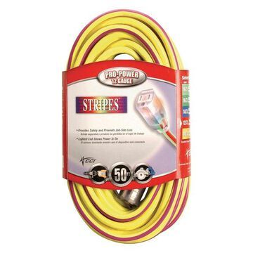 Coleman Cable 50' Yellow & Purple 12/3 Outdoor Extension Cord