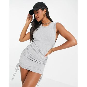 Calvin Klein Jeans sleeveless cinched side dress in gray-Grey