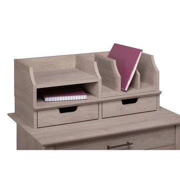 Bush Furniture Key West Desktop Organizer with Drawers in Washed Gray