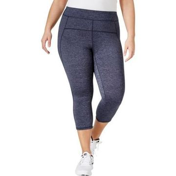 Calvin Klein Performance Womens Plus High Waist Heathered Capri Leggings