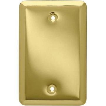 Franklin Brass Stamped Round Single Blank Wall Plate in Polished Brass