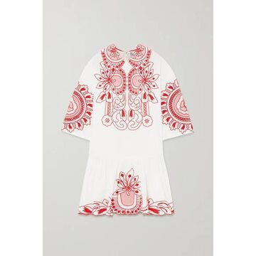 REDValentino - Embroidered Cotton-poplin Mini Dress - White