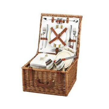 Picnic at Ascot Cheshire English-Style Willow Picnic Basket with Service for 2