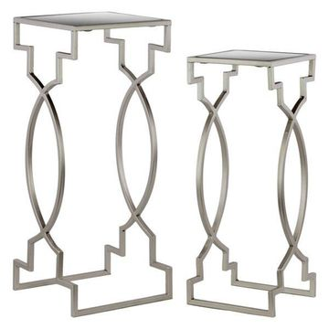Metal Square Nesting Tables With Mirror Top, 2-Piece Set, Silver
