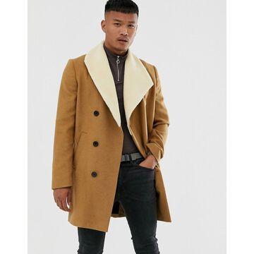 Religion faux shearling asymmetric overcoat in tan