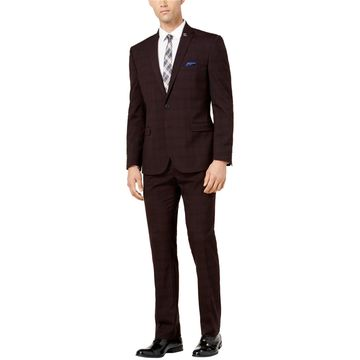 Nick Graham Mens Slim-Fit Stretch Two Button Suit