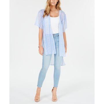 Juniors' Printed Tie-Front High-Low Kimono