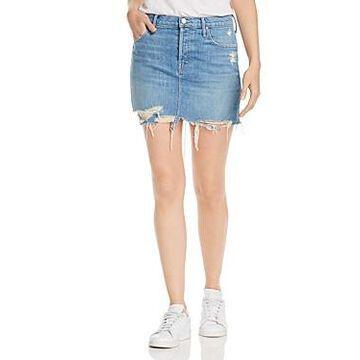 Mother The Vagabond Distressed Denim Mini Skirt
