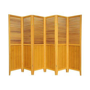 Oriental Furniture 6-Panel Honey Wood Folding Transitional Style Room Divider in Orange | SS-BEAD-HONEY-6P