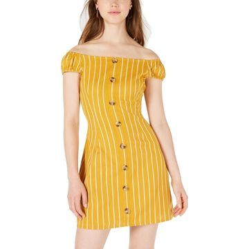 Planet Gold Womens Striped Off-The-Shoulder Casual Dress