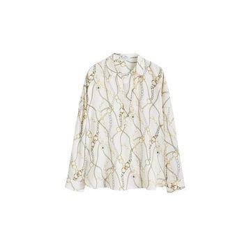 Violeta BY MANGO - Chain print blouse off white - 16 - Plus sizes