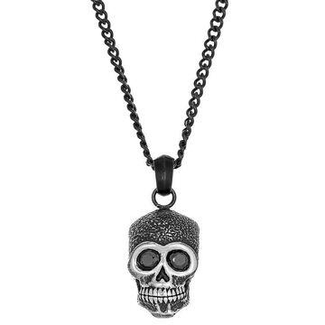 "Men's LYNX Black Stainless Steel Cubic Zirconia Skull Pendant Necklace, Size: 24"""