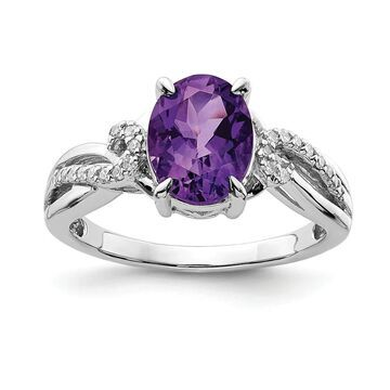 Sterling Silver Rhodium-plated Diamond and Amethyst Oval Ring by Versil (8)