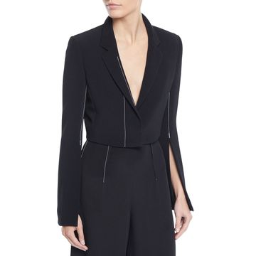 Cropped Flare-Sleeve Stretch-Cady Jacket w/ Topstitching