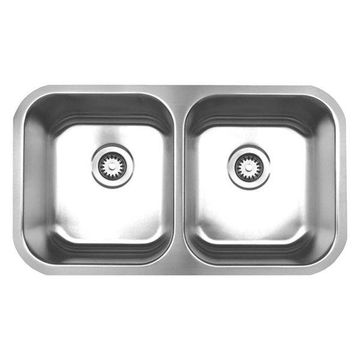 Whitehaus WHNEDB3118 Stainless Steel 31'' Double Bowl Undermount Sink