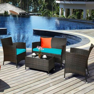 Costway 4PCS Rattan Patio Cushioned Sofa Chair Coffee TableTurquoise