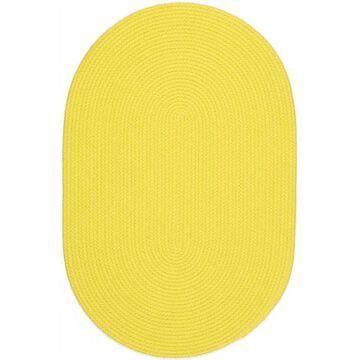 HB14R048X048 4 ft. Happy Braids Solid Yellow Round Rug